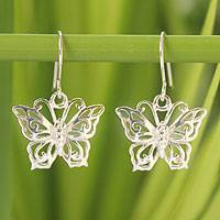 Sterling silver dangle earrings, 'Butterfly Splendor'