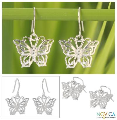 Sterling silver dangle earrings, 'Butterfly Splendor' - Sterling Silver Dangle Earrings from Thailand