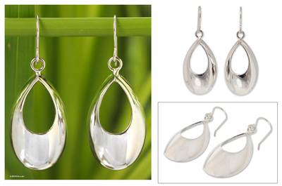 Sterling silver dangle earrings, 'Glamour in the Rain' - Modern Sterling Silver Dangle Earrings from Thailand