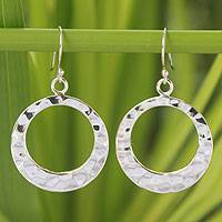 Sterling silver dangle earrings, 'Lunar Eclipse' - Modern Hammered Silver Earrings