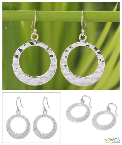 Sterling silver dangle earrings, 'Lunar Eclipse' - Modern Hammered Silver Earrings