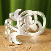 Sterling silver band ring, 'Sweet Energy'