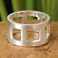 Sterling silver band ring, 'Square Minimalist' - Handcrafted Modern Sterling Silver Band Ring