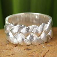 Sterling silver band ring, 'Contrasts' - Unique Modern Sterling Silver Band Ring