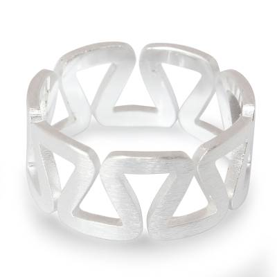 Sterling silver band ring, 'New Energy' - Artisan Crafted Modern Sterling Silver Band Ring