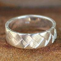 Sterling silver band ring, 'Woven Destiny' - Sterling Silver Band Ring