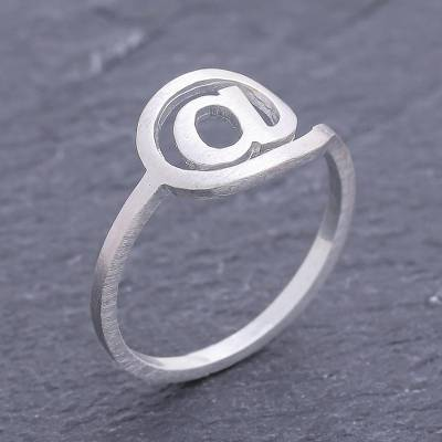 Sterling silver ring, 'Cyber Times' - Modern Sterling Silver Ring