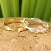 Gold vermeil silver stacking rings, 'Soul Mates' (pair) - Sterling Silver and Vermeil Stacking Rings from Thailand