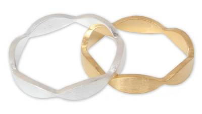 Gold vermeil silver stacking rings, 'Soul Mates' (pair) - Artisan Crafted Sterling Silver and Vermeil Band Ring (Pair)