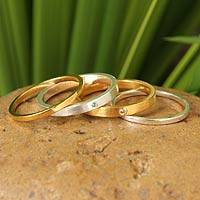 Gold vermeil gemstone stacking rings, 'Thai Spark' (set of 4) - Stacking Artisan Made Ring Set in gold Vermeil