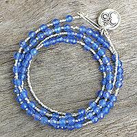 Chalcedony & silver wrap bracelet, 'Universal Harmony'
