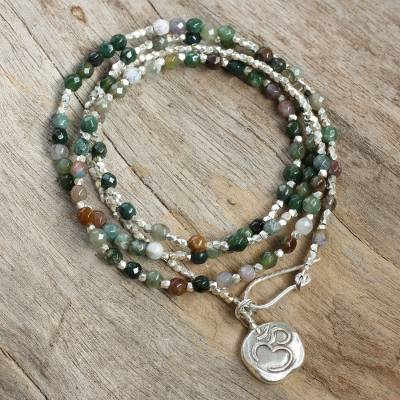 Jasper and silver wrap bracelet, 'Multicolored Universal Harmony' - Sterling Silver and Jasper Wrap Bracelet