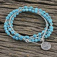 Beaded wrap bracelet, 'Turquoise Universal Harmony' - Beaded wrap bracelet