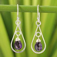 Amethyst dangle earrings, 'Just Glow' - Silver and Amethyst Dangle Earrings