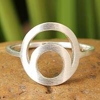 Sterling silver cocktail ring, 'Silver Eclipse'