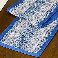 Cotton table runner, 'Blue Camellia' - Cotton table runner