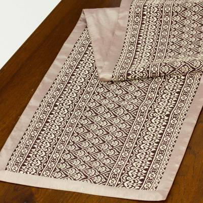 Cotton blend table runner, 'Brown Lotus' - Cotton blend table runner