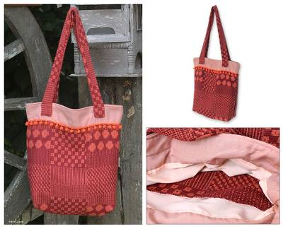 Cotton tote bag, 'Orange Versatility' - Cotton tote bag