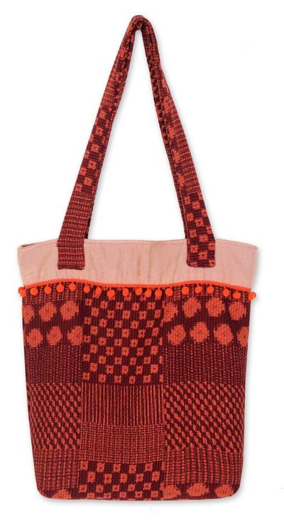 Novica Cotton tote bag, Orange Versatility