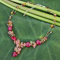 Quartz and unakite beaded necklace, 'Thai Heartbeat' - Unique Beaded Quartz Necklace