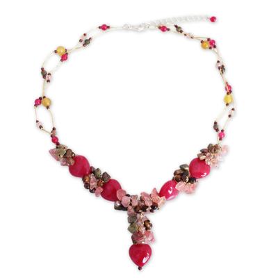 Quartz and unakite beaded necklace, 'Thai Heartbeat' - Unique Beaded Quartz Necklace
