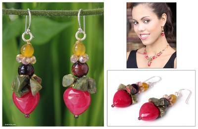 Quartz and unakite dangle earrings, 'Thai Heartbeat' - Beaded Quartz Multigem Earrings from Thailand