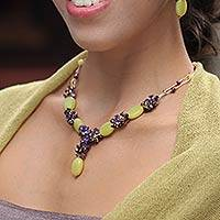 Serpentine and amethyst  beaded necklace, 'Cool Beauty'