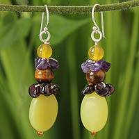 Serpentine and amethyst dangle earrings, 'Cool Beauty' - Serpentine Dangle Earrings