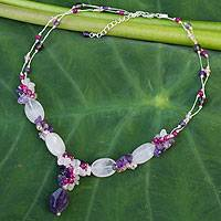 Amethyst and rose quartz beaded necklace, 'Sweet Love' - Beaded Rose Quartz and Amethyst Necklace