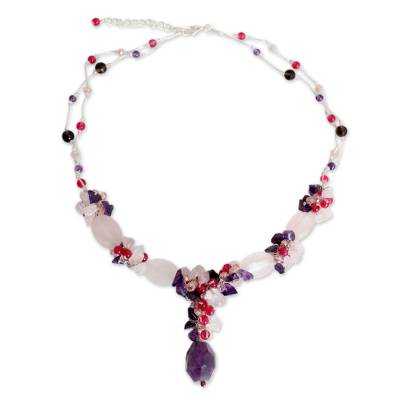Beaded Rose Quartz and Amethyst Necklace