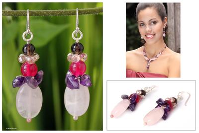 Amethyst and rose quartz dangle earrings, 'Sweet Love' - Amethyst and Quartz Beaded Earrings