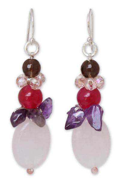 Amethyst and Quartz Beaded Earrings