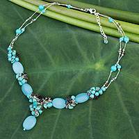 Gemstone beaded necklace, 'Peaceful Sky'