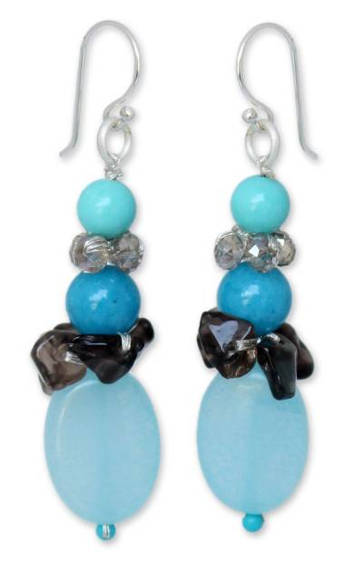 Beaded Quartz Earrings from Thailand