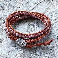 Rhodonite wrap bracelet, 'Pink Adventure' - Rhodonite Brown Leather Wrap Bracelet