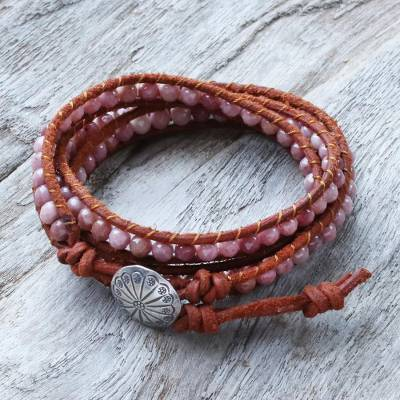 Rhodonite wrap bracelet, 'Pink Adventure' - Rhodonite wrap bracelet