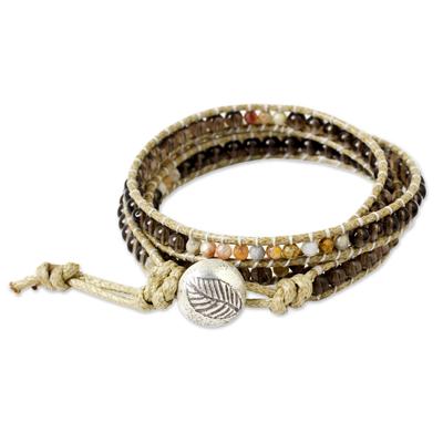 Smoky quartz wrap bracelet, 'Wild Adventure' - Smoky Quartz Beaded Wrap Bracelet
