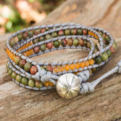 Unakite wrap bracelet, 'Jungle Adventure' - Unakite wrap bracelet
