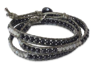 Onyx and labradorite wrap bracelet, 'Magical' - Onyx and labradorite wrap bracelet