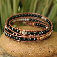 Onyx wrap bracelet, 'Eclipse Shadows' - Beaded Wrap Bracelet