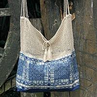 Cotton batik shoulder bag, 'Hmong Indigo' - Handmade Batik Cotton and Hemp Shoulder Bag