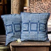 Cotton batik cushion covers, 'Hmong Basketry' (pair) - Cotton batik cushion covers (Pair)