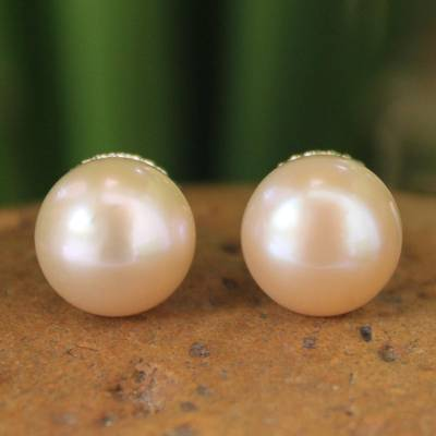 Cultured pearl button earrings, 'Dawn Serenade' - Hand Made Pearl Earrings