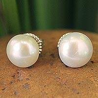 Cultured pearl button earrings, 'Cloud Serenade' - Bridal Pearl Button Earrings
