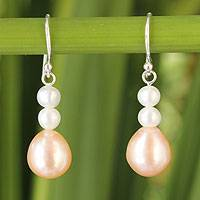 Cultured pearl dangle earrings, 'Sweet Peach Glamour' - Handcrafted Pearl Earrings