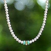 Cultured pearl and amazonite strand necklace, 'Lovely Lady'