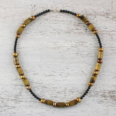 Cultured pearl and tiger's eye beaded necklace. 'Honey Bamboo' - Beaded Onyx and Tiger's Eye Necklace