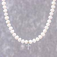 Cultured pearl strand necklace, 'Spirit of Faith' - Pearl Strand Necklace with a Silver Cross