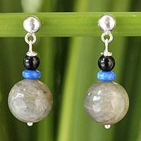 Labradorite and onyx dangle earrings, 'Neptune's Queen'