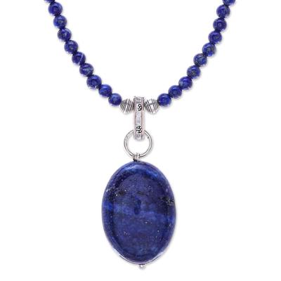 Lapis lazuli pendant necklace, 'Blue Lady' - Handmade Lapis Lazuli Pendant Necklace